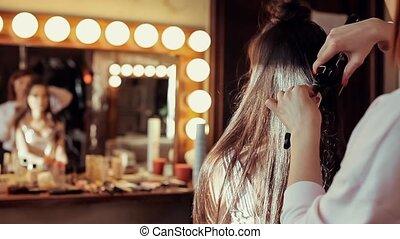 salon, girl, beauté