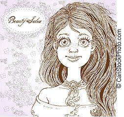 salon, girl, retro, cheveux, mignon, beau, -, lilas, fond, beauté