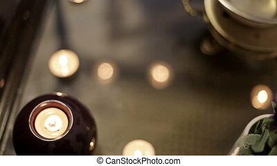salon, huile, tasse, bougies, accessoires, chaud, spa, masage