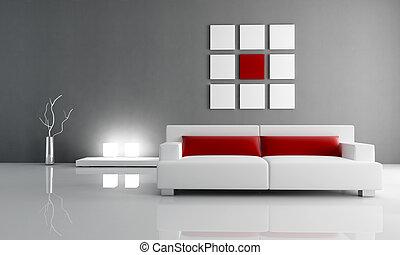 salon, rouges, gris