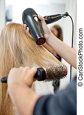 salon, sécher, styliste, coiffeur, femme, cheveux