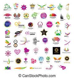 salons, logos, beauté, collection, vecteur, produits de beauté