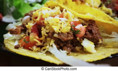 salsa, doux, salade viande, taco
