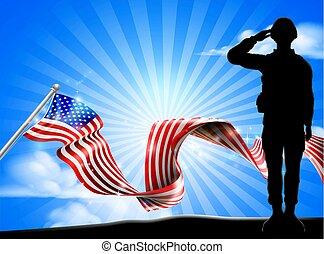 saluer, drapeau américain, fond, soldat