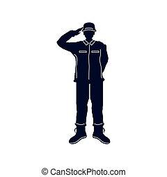 saluer, silhouette, soldat
