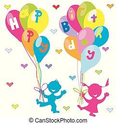 salutation, anniversaire, ballons, enfants, carte, heureux