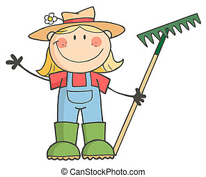 salutation, girl, jardinage, onduler