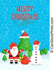 salutation, joyeux, année, nouveau, noël carte, heureux