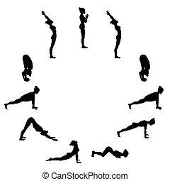 salutation., namaskara., yoga, surya, soleil, sequence.