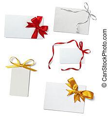 salutation, note, ruban, carte