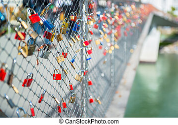 salzbourg, pont, cadenas