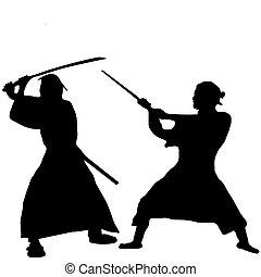 samouraï, silhouette, combattant, deux