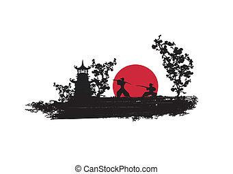 samouraï, silhouette, combattant, japonaise