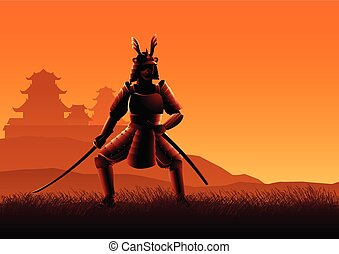 samouraï, silhouette, illustration