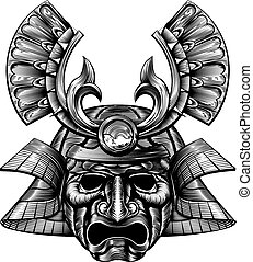 samouraï, style, masque, woodblock