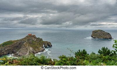 san, île, défaillance, juan, de, gaztelugatxe, temps, église, îlot, vue dessus