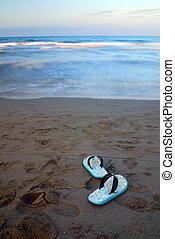 sandales, plage, longue exposition