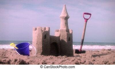 sandcastle, plage, jouets, été, (1001)