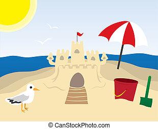 sandcastle, plage
