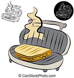sandwich, fabricant, panini, presse, dessin ligne