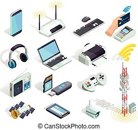 sans fil, icônes, ensemble, appareils, isométrique, technologie