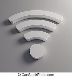 sans fil, logo, wifi, 3d