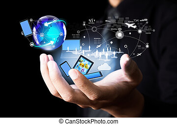 sans fil, média, technologie, moderne, social