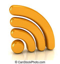 sans fil, sur, signe, blanc, réseau