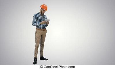 sans fil, tablette, projet, arrière-plan., construction, utilisation, blanc, chèque, ingénieur