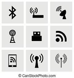 sans fil, vecteur, ensemble, icône