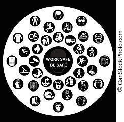 santé, circulaire, sécurité, icônes