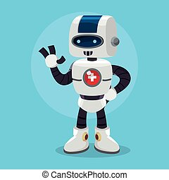 santé, conception, robot, illustration