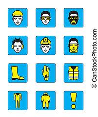santé, ensemble, sécurité, icônes