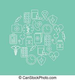 santé, esprit, rond, icône