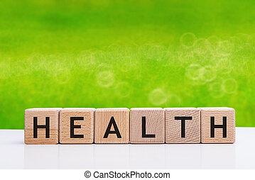 santé, fait, mot, blocs, bois