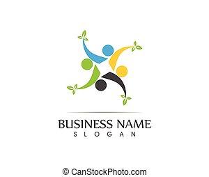 santé, feuille, illustration, gens, conception, logo