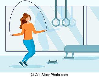 santé, fitness, girl, gymnase, concept