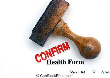 santé, formulaire, confirmer