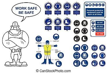 santé, icônes, sécurité, signes