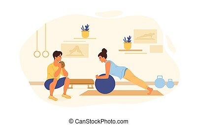 santé, jeune femme, concept, fitness
