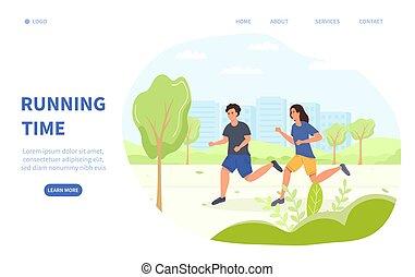 santé, jogging, temps, concept, ou, courant, fitness