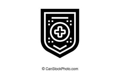 santé médicale, glyph, protection, icône, animation