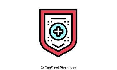 santé médicale, protection, animation, icône, couleur