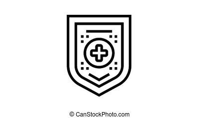 santé médicale, protection, animation, icône, ligne