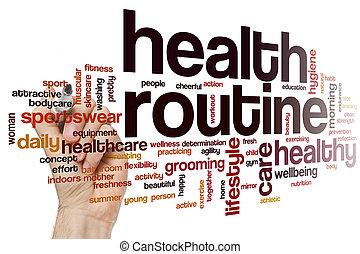 santé, mot, nuage, routine