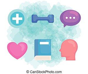 santé, prévention, icônes, ensemble, mental