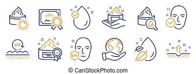 santé, skin., crème, vecteur, beauté, peau, tel, icônes, ensemble soleil, soin