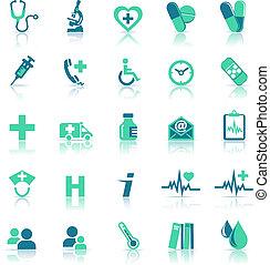 santé, soin médical, vert, icônes