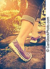 santé, vendange, marche femme, tone., outdoors., closeup, exercice, concept