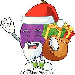 santa, cadeau, caractère, winne, fruit, délicieux, dessin animé